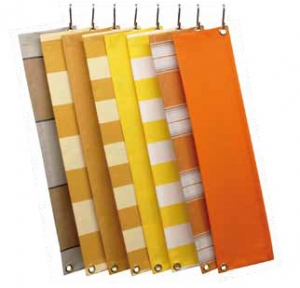 Zonwering doeken knikarmscherm oranje geel