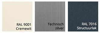 Kastkleuren van zonnescherm Jo-an Ral 9001, Technisch Zilver en Ral 7016 Structuurlak