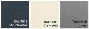 Kleurstalen zonnescherm omkasting Ral 7016 Structuurlak Ral 9001 en Technisch zilver