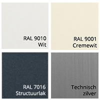 Kastkleuren van zonnescherm sensation Ral 9010, Ral 9001, Ral 7016, Technisch Zilver