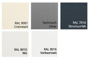 Kastkleuren van zonnescherm Labella Ral 9010, Ral 9001, Technisch Zilver, Ral 7016 Structuur en Verkeerswit Ral 9016