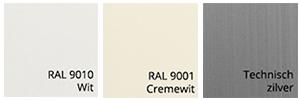 Kastkleuren van zonnescherm Labella Ral 9010, Ral 9001, en Technisch Zilver